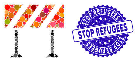 Mosaic barrier icon and grunge stamp seal with Stop Refugees caption. Mosaic vector is formed from barrier icon and with scattered round elements. Stop Refugees stamp seal uses blue color,