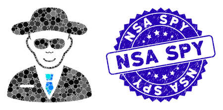 Mosaic spy icon and grunge stamp seal with NSA Spy caption. Mosaic vector is created with spy icon and with randomized round elements. NSA Spy stamp seal uses blue color, and dirty design. Ilustração