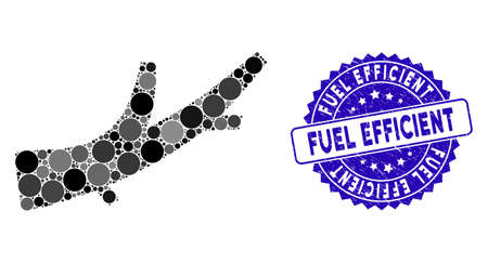 Mosaic firewood icon and grunge stamp seal with Fuel Efficient caption. Mosaic vector is created with firewood pictogram and with randomized circle spots. Fuel Efficient stamp seal uses blue color,