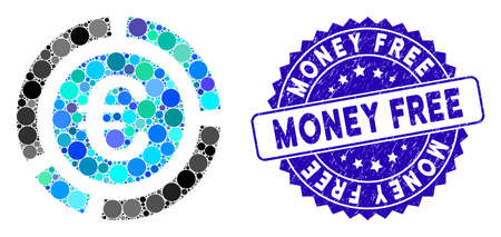 Mosaic Euro financial diagram icon and rubber stamp seal with Money Free text. Mosaic vector is created with Euro financial diagram icon and with scattered spheric items.