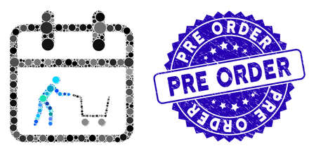 Collage shopping day icon and rubber stamp seal with Pre Order text. Mosaic vector is created with shopping day pictogram and with scattered round elements. Pre Order stamp seal uses blue color,