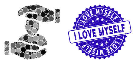 Collage user care hands icon and distressed stamp seal with I Love Myself text. Mosaic vector is composed with user care hands icon and with randomized round items. Ilustração
