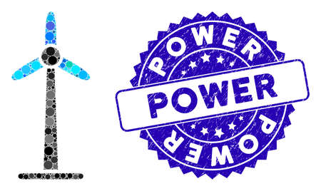 Mosaic wind power generator icon and corroded stamp watermark with Power phrase. Mosaic vector is formed with wind power generator icon and with random circle elements.