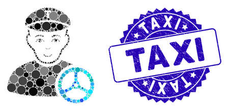 Mosaic taxi driver icon and corroded stamp watermark with Taxi text. Mosaic vector is composed with taxi driver icon and with randomized circle spots. Taxi seal uses blue color, and rubber design.