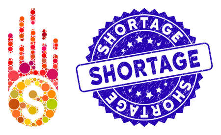 Mosaic rush falling dollar icon and corroded stamp seal with Shortage phrase. Mosaic vector is composed with rush falling dollar icon and with random round spots. Shortage seal uses blue color,