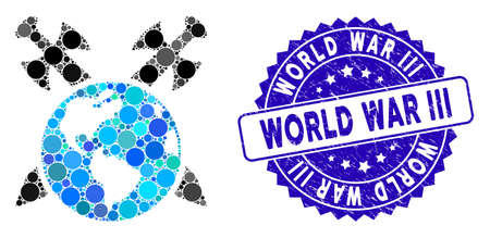 Mosaic Earth swords icon and grunge stamp watermark with World War Iii caption. Mosaic vector is composed with Earth swords icon and with randomized round items.