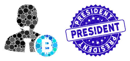 Mosaic Bitcoin call operator icon and rubber stamp watermark with President text. Mosaic vector is designed with Bitcoin call operator icon and with random round elements.