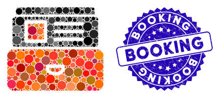 Mosaic catalog icon and rubber stamp seal with Booking phrase. Mosaic vector is created from catalog icon and with randomized circle spots. Booking seal uses blue color, and rubber design. Ilustração