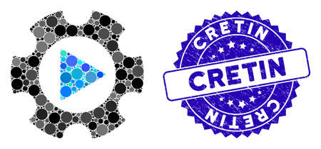 Mosaic automation gear icon and corroded stamp seal with Cretin phrase. Mosaic vector is formed with automation gear icon and with random circle items. Cretin stamp uses blue color, Ilustração