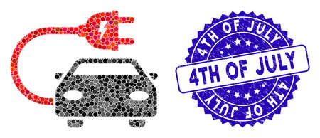 Mosaic electric car icon and rubber stamp watermark with 4Th of July caption. Mosaic vector is composed from electric car icon and with scattered round spots. 4Th of July stamp uses blue color, 向量圖像