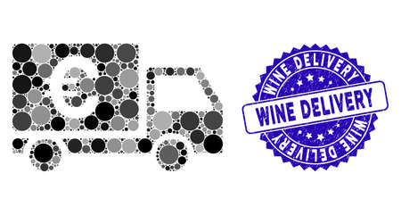 Mosaic Euro shipment icon and corroded stamp watermark with Wine Delivery phrase. Mosaic vector is formed with Euro shipment icon and with scattered circle items. 向量圖像