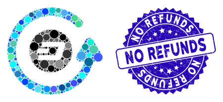 Mosaic Dash chargeback icon and rubber stamp watermark with No Refunds text. Mosaic vector is formed with Dash chargeback icon and with randomized circle items. No Refunds stamp uses blue color, Ilustração
