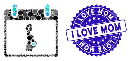 Mosaic pregnant woman calendar day icon and rubber stamp seal with I Love Mom text. Mosaic vector is composed from pregnant woman calendar day icon and with random round elements.