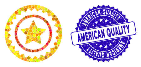Mosaic quality stamp icon and rubber stamp watermark with American Quality text. Mosaic vector is formed with quality stamp icon and with scattered circle items. American Quality seal uses blue color,