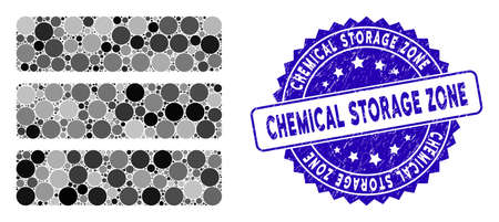 Mosaic database icon and grunge stamp seal with Chemical Storage Zone text. Mosaic vector is designed with database icon and with random round spots. Chemical Storage Zone stamp seal uses blue color, Vettoriali