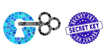 Mosaic secret key icon and rubber stamp watermark with Secret Key phrase. Mosaic vector is composed with secret key icon and with random spheric elements. Secret Key stamp seal uses blue color,