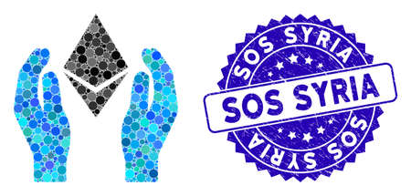 Mosaic Ethereum care hands icon and rubber stamp seal with Sos Syria phrase. Mosaic vector is created with Ethereum care hands icon and with scattered spheric spots. Sos Syria stamp uses blue color,