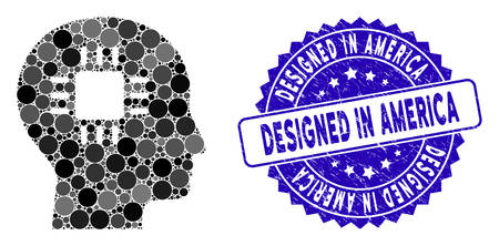 Mosaic brain processor icon and rubber stamp seal with Designed in America text. Mosaic vector is designed from brain processor icon and with randomized round elements. Ilustrace
