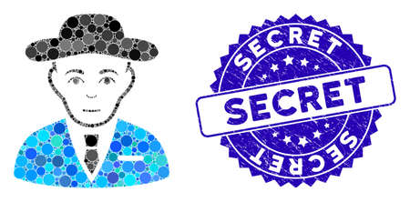 Mosaic secret service agent icon and corroded stamp seal with Secret phrase. Mosaic vector is formed with secret service agent icon and with randomized round spots. Secret seal uses blue color,