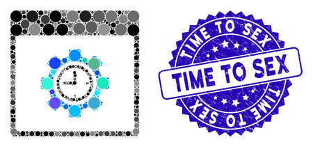 Mosaic clock configuration gear calendar page icon and distressed stamp watermark with Time to Sex caption.