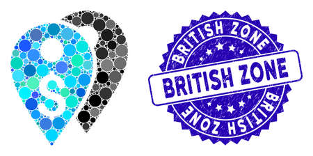 Collage dollar bank marks icon and grunge stamp seal with British Zone phrase. Mosaic vector is created from dollar bank marks icon and with scattered spheric items. Illustration