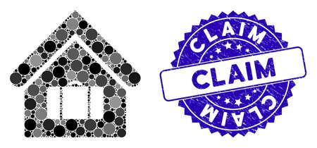 Mosaik-Gepäckraumsymbol und beunruhigtes Stempelwasserzeichen mit Anspruchstext. Mosaikvektor wird mit Gepäckraumsymbol und mit verstreuten Kreisflecken erstellt. Anspruchsstempelsiegel verwendet blaue Farbe,