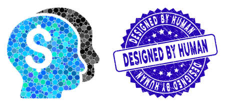 Mosaic bankers icon and grunge stamp seal with Designed by Human text. Mosaic vector is composed with bankers icon and with scattered round spots. Designed by Human seal uses blue color,