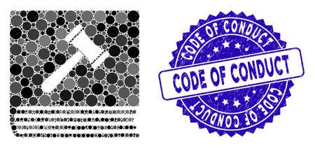 Mosaik-Symbol für den Verhaltenskodex und korrodiertes Stempelsiegel mit dem Text des Verhaltenskodex. Mosaikvektor wird mit Verhaltenskodexsymbol und mit verstreuten Kreiselementen erstellt.