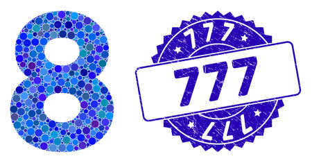Mosaic 8 digit icon and grunge stamp seal with 777 text. Mosaic vector is composed with 8 digit pictogram and with scattered round spots. 777 seal uses blue color, and grunge texture. Ilustração