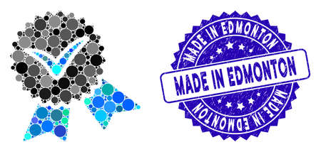 Mosaic validation seal icon and corroded stamp seal with Made in Edmonton phrase. Mosaic vector is designed with validation seal icon and with scattered round spots.