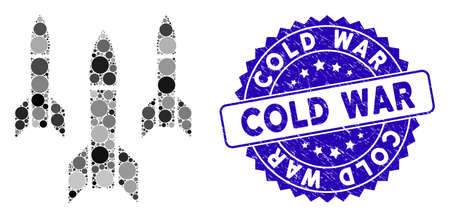 Mosaic missiles icon and distressed stamp seal with Cold War text. Mosaic vector is designed with missiles pictogram and with random round items. Cold War stamp seal uses blue color, Vectores