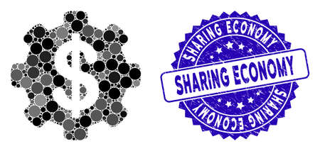 Mosaic payment options gear icon and grunge stamp seal with Sharing Economy caption. Mosaic vector is created with payment options gear icon and with random circle elements.