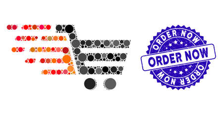 Mosaic rush shopping cart icon and corroded stamp seal with Order Now caption. Mosaic vector is created with rush shopping cart icon and with random round spots. Order Now stamp seal uses blue color,