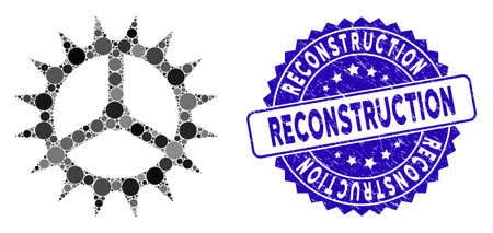 Mosaic clock cog icon and distressed stamp seal with Reconstruction phrase. Mosaic vector is designed with clock cog icon and with scattered spheric elements.