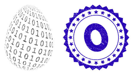 Mosaic binary digital egg icon and grunge stamp seal with caption. Mosaic vector is formed from binary digital egg icon and with scattered spheric items. seal uses blue color, and rubber surface. Vektoros illusztráció