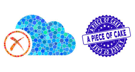 Mosaic erase icon and corroded stamp watermark with A Piece of Cake caption. Mosaic vector is designed with erase icon and with scattered circle elements. A Piece of Cake stamp uses blue color,