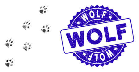 Mosaic wolf track icon and rubber stamp watermark with Wolf phrase. Mosaic vector is designed with wolf track pictogram and with randomized spheric spots. Wolf stamp seal uses blue color, 向量圖像