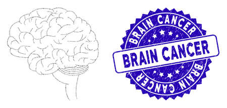 Mosaic brain icon and rubber stamp watermark with Brain Cancer phrase. Mosaic vector is designed with brain pictogram and with random circle elements. Brain Cancer stamp uses blue color,