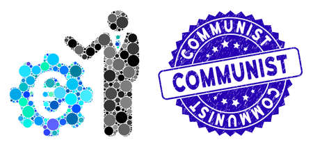 Mosaic Euro businessman icon and corroded stamp seal with Communist caption. Mosaic vector is composed with Euro businessman icon and with randomized round elements. Communist stamp uses blue color,