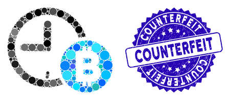 Mosaic Bitcoin credit clock icon and grunge stamp seal with Counterfeit caption. Mosaic vector is created from Bitcoin credit clock icon and with random circle items.