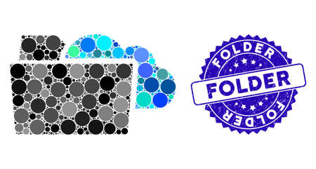 Mosaic folder icon and grunge stamp seal with Folder caption. Mosaic vector is formed from folder icon and with random circle items. Folder stamp seal uses blue color, and grunged design.