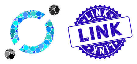 Mosaic node link icon and rubber stamp watermark with Link phrase. Mosaic vector is composed with node link icon and with randomized round elements. Link stamp uses blue color, and rubber surface. Ilustração