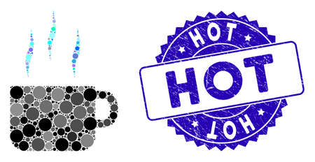 Mosaic hot tea cup icon and corroded stamp seal with Hot text. Mosaic vector is created with hot tea cup icon and with randomized round elements. Hot stamp seal uses blue color, and grunged texture.