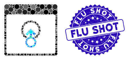Mosaic cell penetration calendar page icon and distressed stamp watermark with Flu Shot text. Mosaic vector is designed with cell penetration calendar page icon and with random round items.