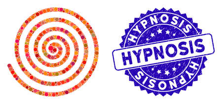 Mosaic hypnosis icon and rubber stamp seal with Hypnosis phrase. Mosaic vector is designed from hypnosis icon and with random circle spots. Hypnosis stamp seal uses blue color, and scratched texture. Illusztráció