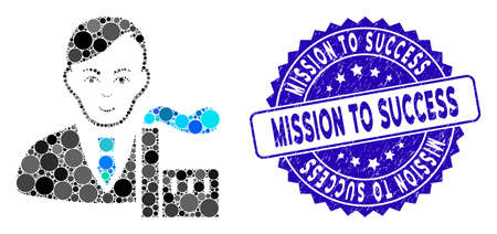 Mosaic capitalist oligarch icon and distressed stamp seal with Mission to Success caption. Mosaic vector is formed from capitalist oligarch icon and with random round spots.