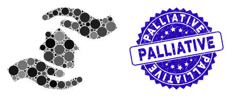 Mosaic house care hands icon and rubber stamp watermark with Palliative text. Mosaic vector is created with house care hands icon and with random spheric items. Palliative seal uses blue color,