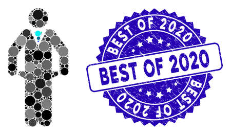 Mosaic bankrupt icon and grunge stamp watermark with Best of 2020 text. Mosaic vector is designed with bankrupt pictogram and with randomized spheric spots. Best of 2020 stamp seal uses blue color,