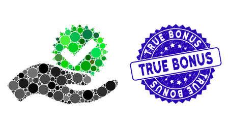 Collez l'icône du vrai bonus et le sceau du timbre grunge avec le texte du vrai bonus. Le vecteur mosaïque est créé avec une véritable icône de bonus et avec des éléments de cercle aléatoires. Le timbre True Bonus utilise la couleur bleue et le design grunge.