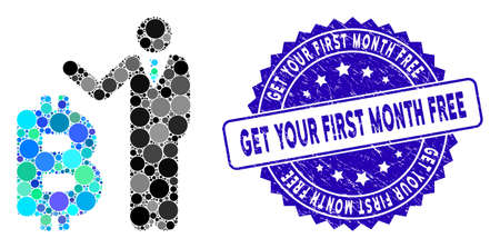 Mosaic Bitcoin banker icon and rubber stamp seal with Get Your First Month Free text. Mosaic vector is composed with Bitcoin banker icon and with randomized round spots. 向量圖像